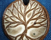 Tree Pendent in Earthenware Clay with White Glaze