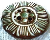 Ceramic Button, Green and White Glaze, Red Stoneware