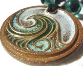 Ceramic Wave Pendant, Blue and Green Glaze, Recycled Stoneware