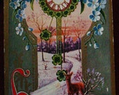 1910 New Year's Postcard Deer Snow Clock Forget Me Nots