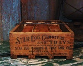 Primitive Antique Wooden Star Egg Carrier Grubby Paper Mache Eggs
