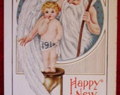 1913 New Year's Postcard Father New year