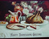Vintage 1908 Thanksgiving Postcard Thanksgiving Table Pie Turkey Ellen Clapsaddle Germany, Thanksgiving Dinner