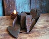 Primitive Hearts Grubby Blackened Beeswax Tarts Scented Beeswax Tarts Melts Primitive Bowl Fillers Valentine Hearts Wax Melts, Gift