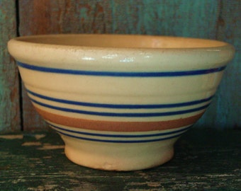 "Vintage 6"" Yellow Ware Bowl, Farmhouse Kitchen Bowl, Primitive Kitchen Decor"