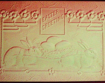 Vintage 1907 Easter Postcard Airbrush Rabbits Carry Eggs