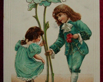 Vintage Birthday Postcard Victorian Boy Gives Flowers Germany