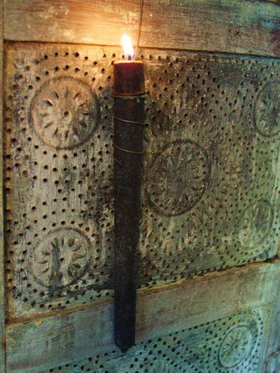 Antique Tin Candle Mold And Grubby Colonial Hearth Nubby