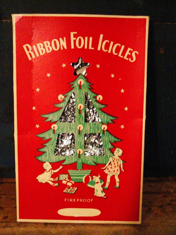 Vintage foil icicles lead christmas tree tinsel