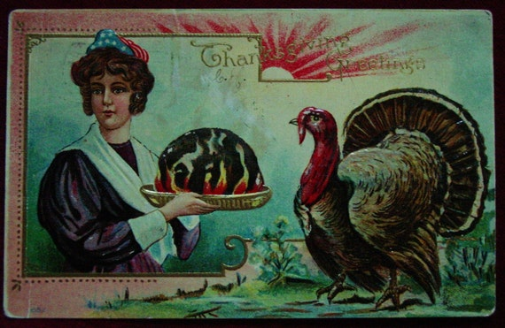 1909 Patriotic Thanksgiving Postcard Lady Hat Plum Pudding