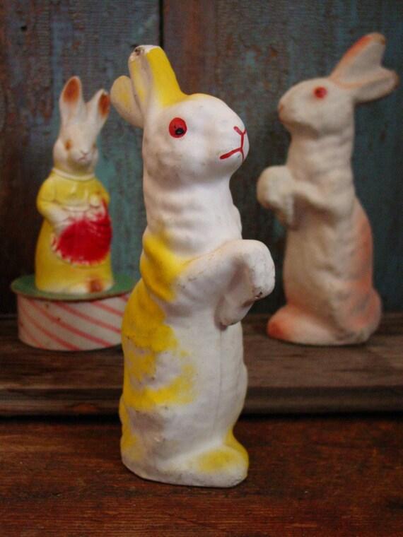 Vintage Paper Mache Easter Bunny Pulp Rabbit Yellow
