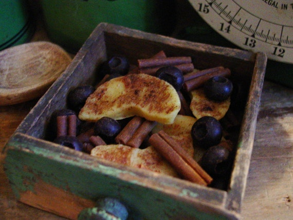Grubby Beeswax Kitchen Fixin's, Scented Beeswax Cinnamon Sticks, Apple Slices, Berries, Primitive Bowl Filler, Wax Tarts, Wax Melts