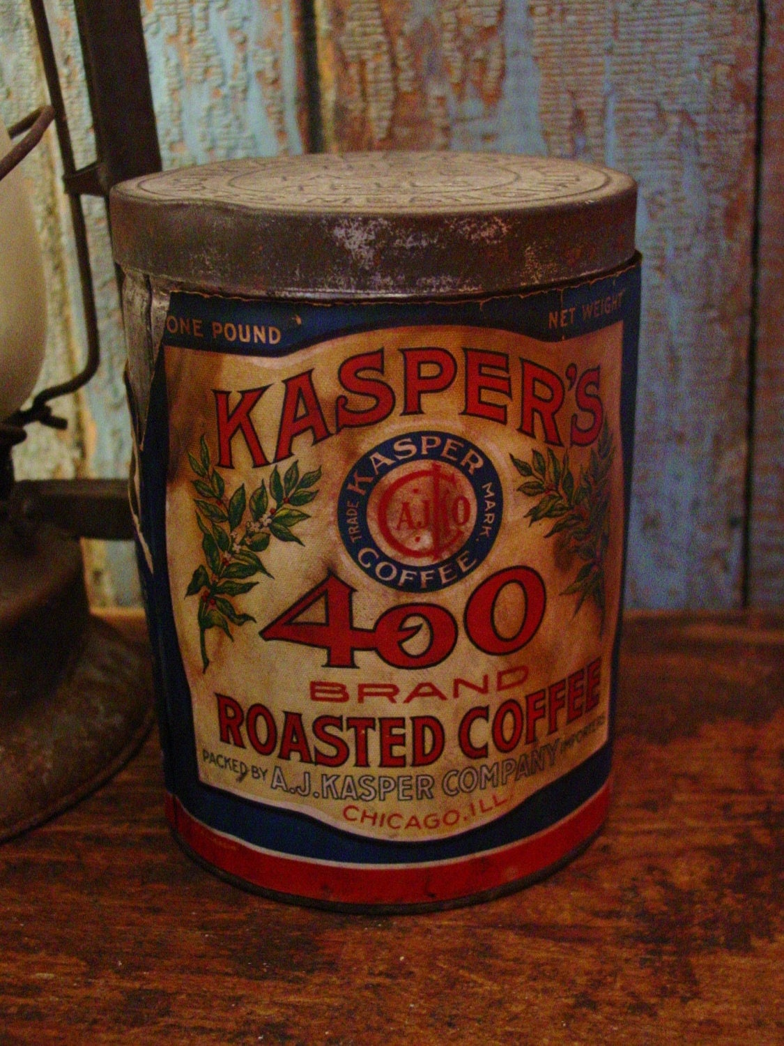 Early Advertising Antique Kasper S Coffee Tin With Paper