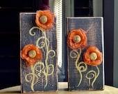 Wood Blocks Wall Shelf Art Rustic Flower Set of 2 VVIX