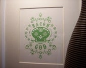 Bacon Is Like A Little Hug from God art insert - Sugar Skull GREEN