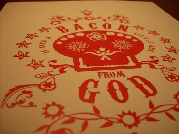 Bacon Is Like A Little Hug from God art insert - Sugar Skull RED