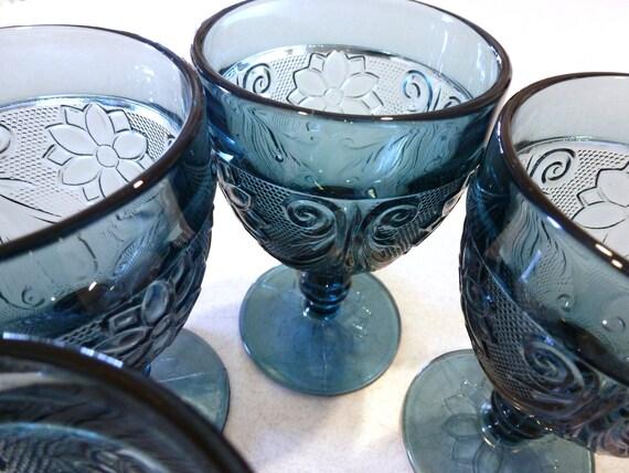 Bicentennial Blue Sandwich Tiara  Glass Goblets