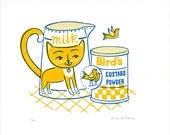 Custard the Cat Limited Edition Gocco Screenprint 1950s style illustration Cat Bird Retro Kitchen Decor