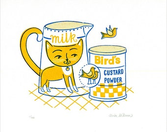 Custard the Cat Limited Edition Gocco Screenprint 1950s style illustration Yellow Cat Bird Print Retro Kitchen Decor