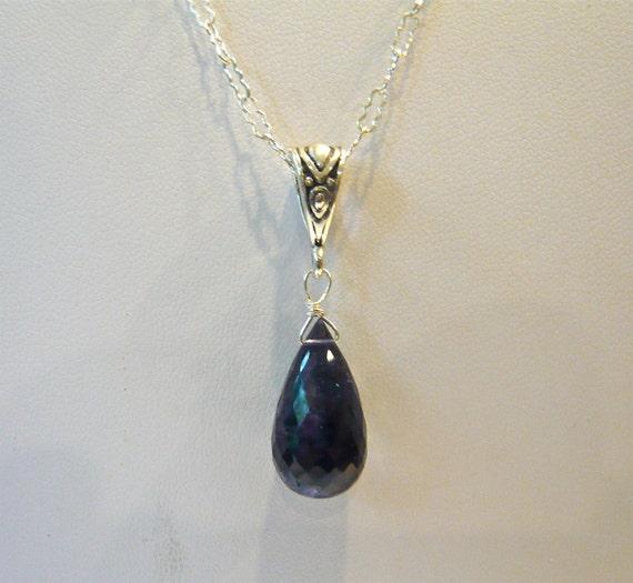 Iolite Necklace Sterling Silver Dark Blue Gemstone Pendant