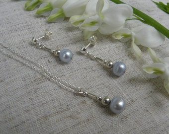 Blue Pearl Pendant and earring set
