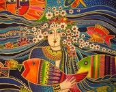 Laurel Burch Ocean Songs Mermaid - One Panel Rare Fabric OOP (P-2)