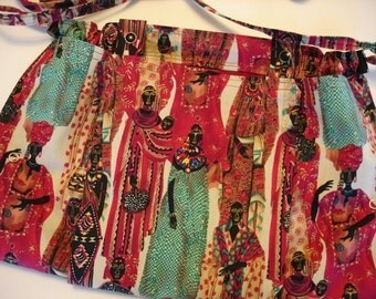 KNITTING BAG APRON - Made To Order - African Women Rare Fabric - Please allow 3 weeks for delivery