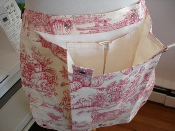 KNITTING BAG Apron - Made To Order - Alexander Henry Plymouth Toile in Red
