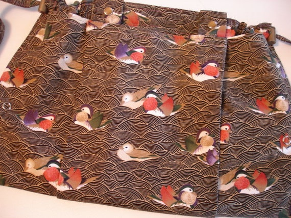 SALE KNITTING BAG Apron - Fuji Birds Michael Miller Rare Fabric