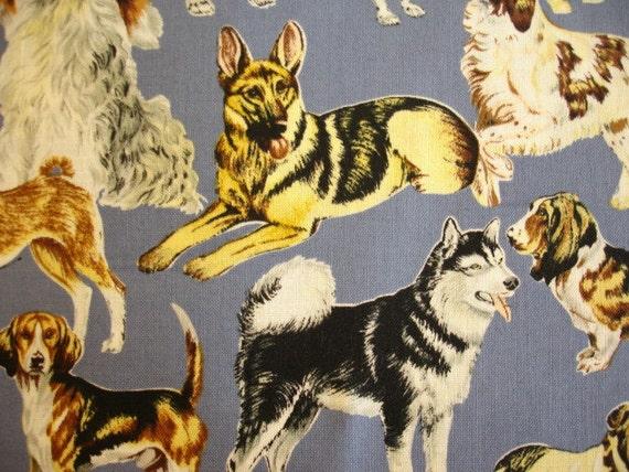 Dog Breeds on Blue Robert Kaufman Fabric Rare OOP (1 YD) (D-7)