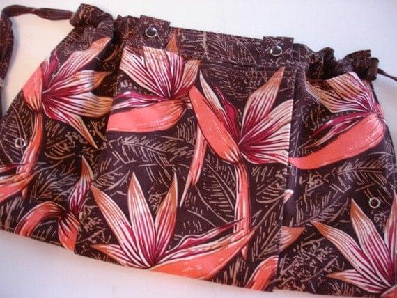 KNITTING BAG APRON - Alfred Shaheen Hawaiian Collection Free Spirit Bird of Paradise Fabric