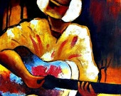 CUSTOM ORDER Abstract Guitar Player Oil Painting.