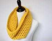 Chunky Cowl Infinity Scarf Crochet Neckwarmer Mustard Yellow - MADE TO ORDER
