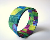 Eco Friendly Bracelet Fabric Covered Bangle Bold Bright Colorful Print, READY TO SHIP, Summer Fashion, June Trends