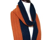 Mens Scarf Sports Fan Masculine Navy Blue Burnt Orange Stripes Man Scarf 6 Inches Wide MADE TO ORDER Fall Winter Game Day Fashion