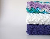 Cotton Crochet Washcloth Hand Knit Organic Dishcloths Kitchen Dish Rags Bathroom Home Eco Friendly White Purple Ombre Set of 3 MADE TO ORDER
