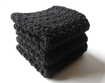Crochet Washcloths Black Face Scrubbies Cotton Washcloths Dish Rags Baby Washcloths Burp Rags Dish Scrubbies Set of 3 - MADE TO ORDER - Home
