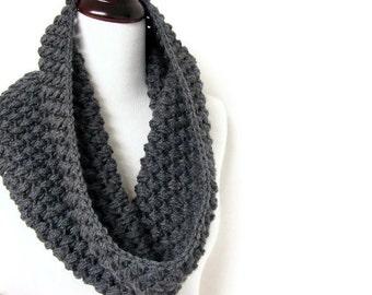 Chunky Cowl Infinity Scarf Crochet Neckwarmer Light Grey Gray - MADE TO ORDER