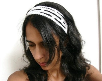 Boho Chic Headband White Crochet Head Band Trellis Adjustable Hairband, MADE TO ORDER, Womens Fashion Trends