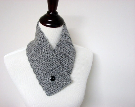 Crochet Scarf, Button Cowl, Gray Neckwarmer, Circle Scarf - MADE TO ORDER