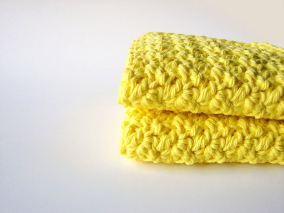 Crochet Washcloths Sunshine Yellow Eco Friendly Cotton Face Scrubbies - Set of 2 - MADE TO ORDER