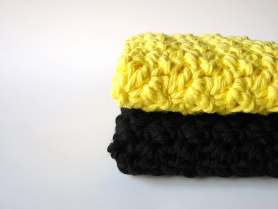 Black Crochet Washcloths Sunshine Yellow Eco Friendly Cotton Face Scrubbies Set of 2 - MADE TO ORDER, Bathroom Home