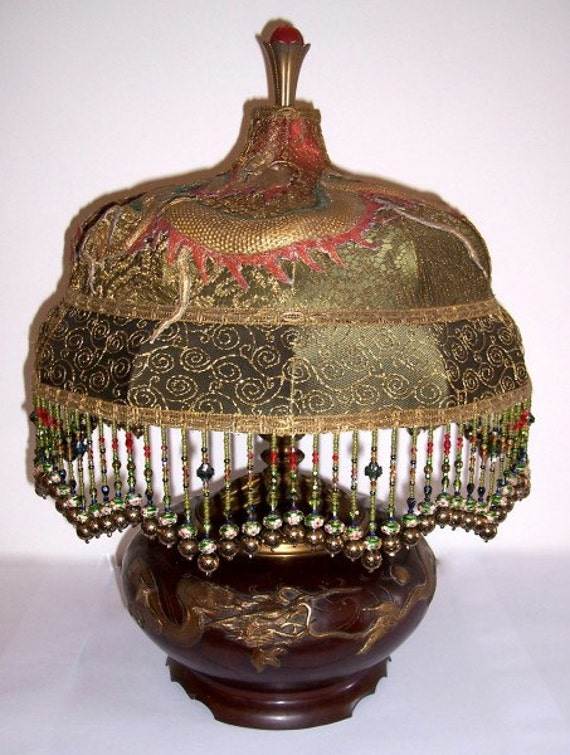 Hold for agentu89 /// Embroidered Antique Dragon on Bronze Victorian Dragon Table Lamp Metallic Lace