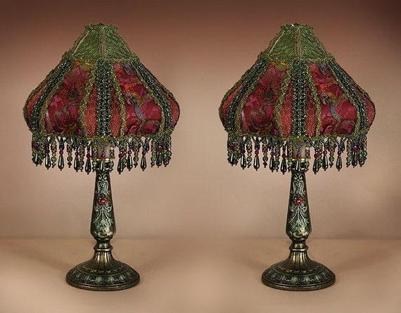 Pair Handmade Beaded Boudoir Lamps