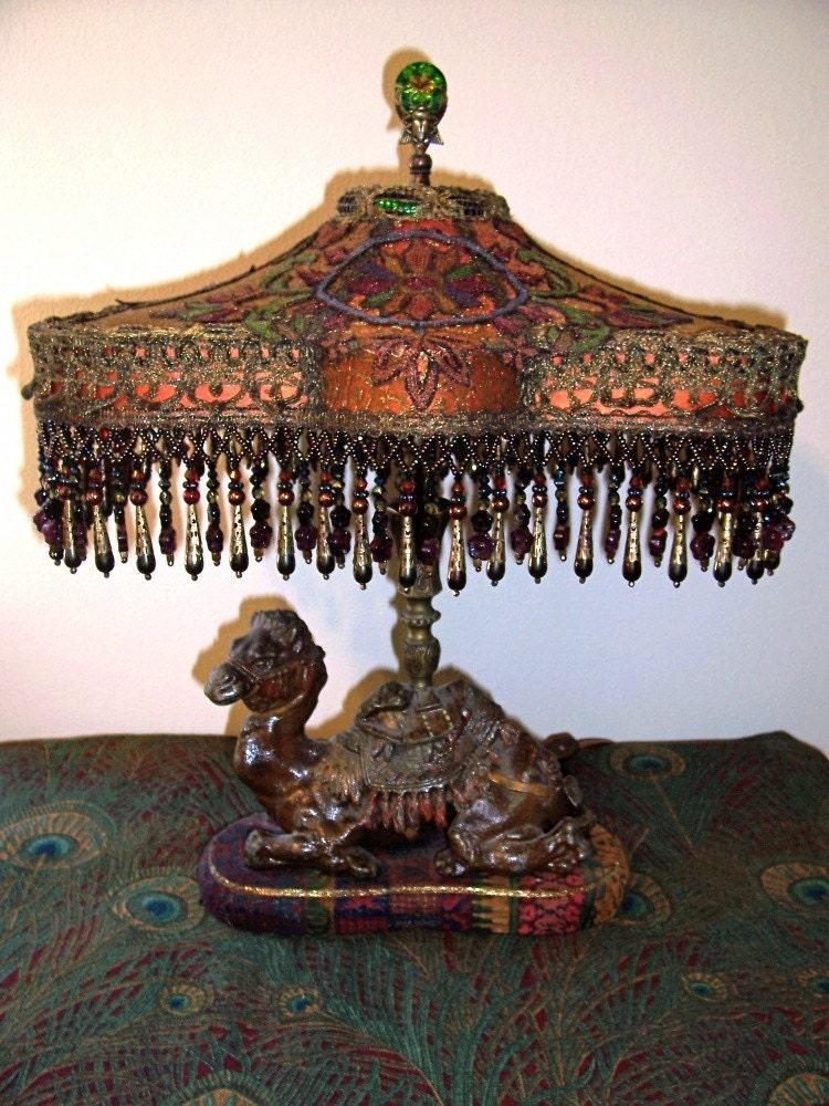 Vintage Camel Inkwell Beaded Fringe Lamp