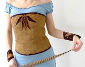 OOAK Native - corset with leather applique in modern primitive style, light brown faux fur