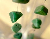 Lure - long green dangle earrings with emerald chips