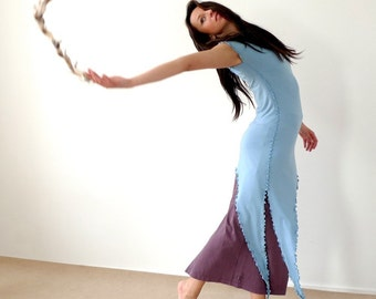 Serene - long asymmetrical jersey dress with a side slit, light blue or pick your color.