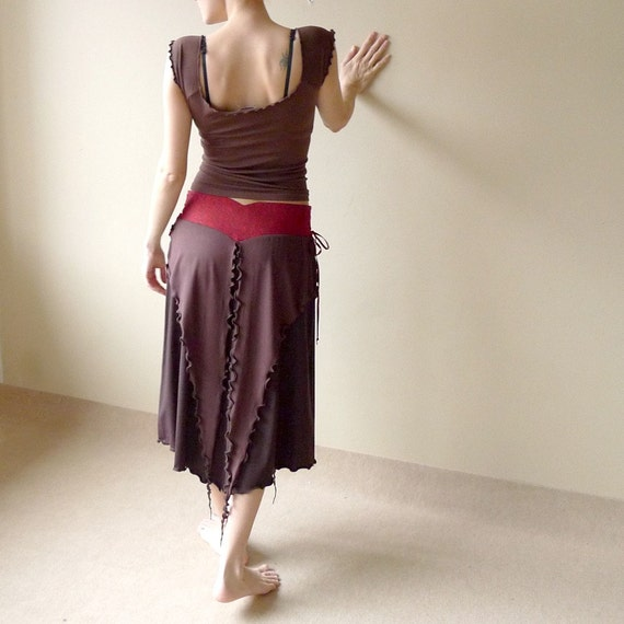 Enigma - long skirt with tatters, ruby red silk and brown jersey, adjustable size S / L