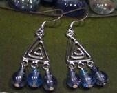 Blue Triangle Wire Drop Earrings